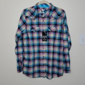 NWT Rock 47 by Wrangler Botton Down Shirt